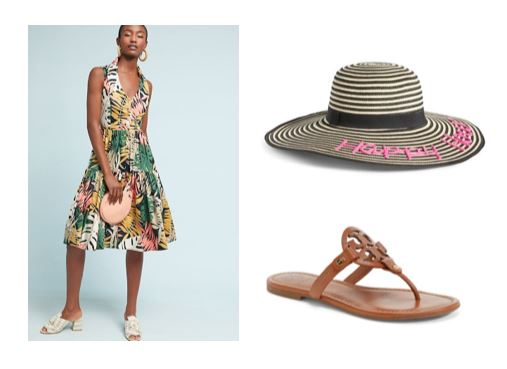 anthropologie foliage dress vacation look
