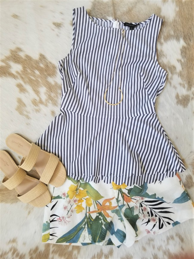 zara short with blue and white striped sleeveless top